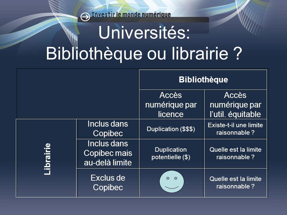 Universités: Bibliothèque ou librairie .