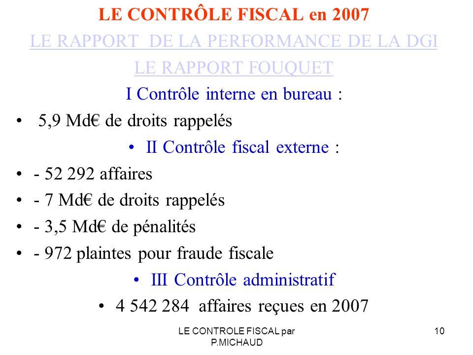 LE CONTRÔLE FISCAL en 2007 LE RAPPORT DE LA PERFORMANCE DE LA DGI LE RAPPORT FOUQUET I Contrôle interne en bureau : 5,9 Md de droits rappelés II Contr