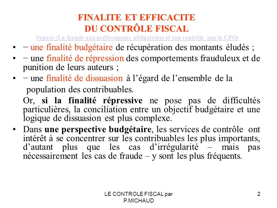 FINALITE ET EFFICACITE DU CONTRÔLE FISCAL Source :La fraude aux prélèvements obligatoires et son contrôle par le CPO) une finalité budgétaire de récup