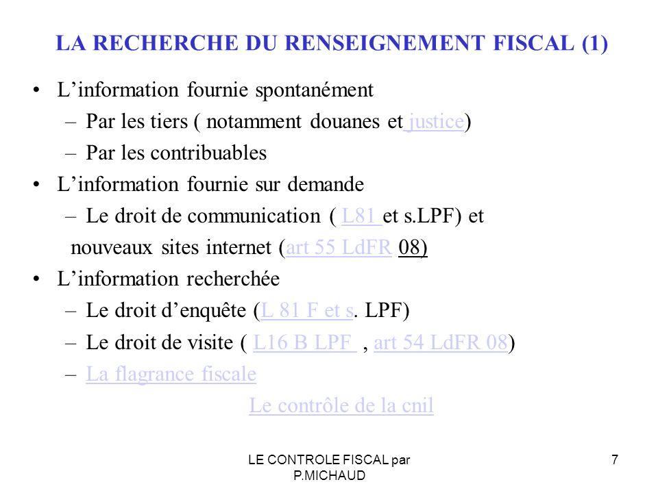 LA RECHERCHE DU RENSEIGNEMENT FISCAL (2) –DEMAIN ??.