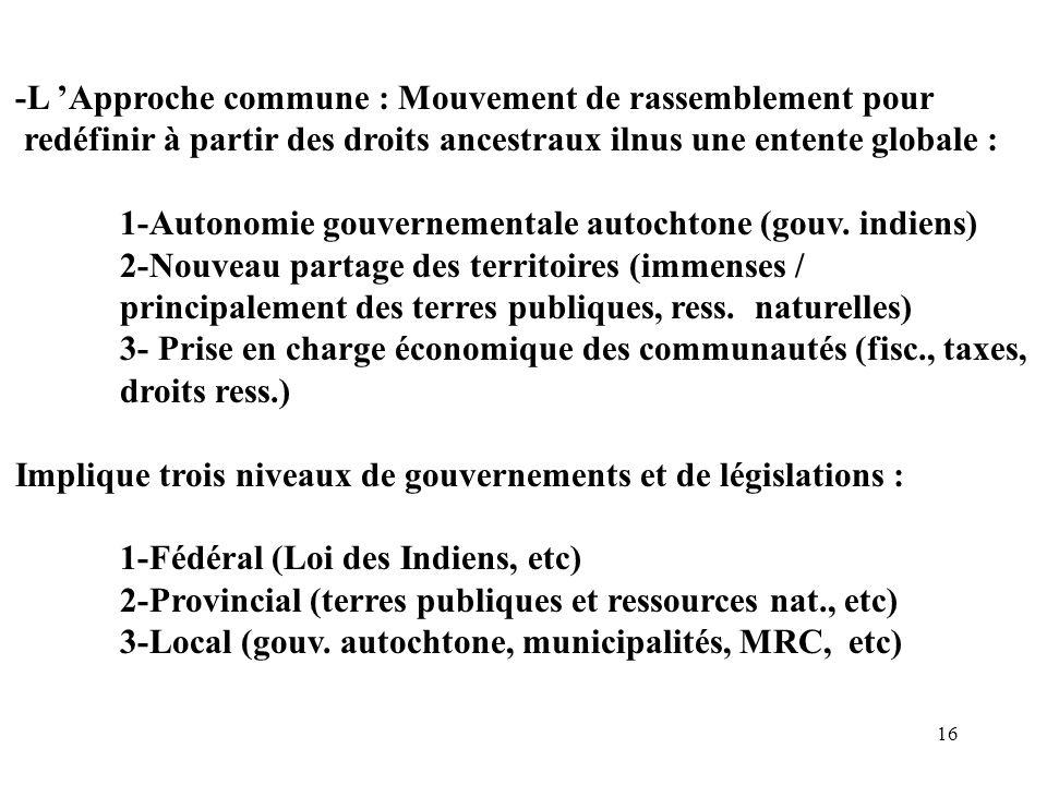 16 -L Approche commune : Mouvement de rassemblement pour redéfinir à partir des droits ancestraux ilnus une entente globale : 1-Autonomie gouvernement