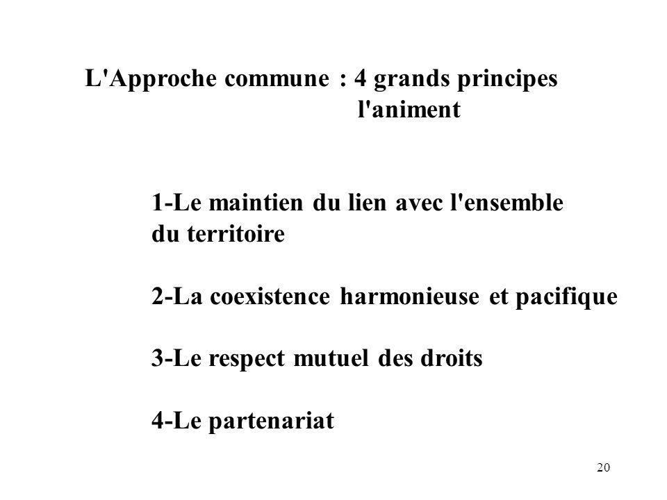 20 L'Approche commune : 4 grands principes l'animent 1-Le maintien du lien avec l'ensemble du territoire 2-La coexistence harmonieuse et pacifique 3-L