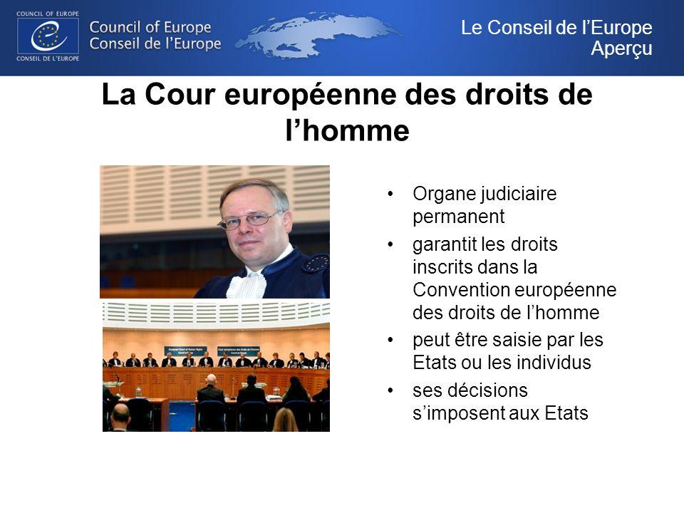 La Cour européenne des droits de lhomme Organe judiciaire permanent garantit les droits inscrits dans la Convention européenne des droits de lhomme peut être saisie par les Etats ou les individus ses décisions simposent aux Etats Le Conseil de lEurope Aperçu