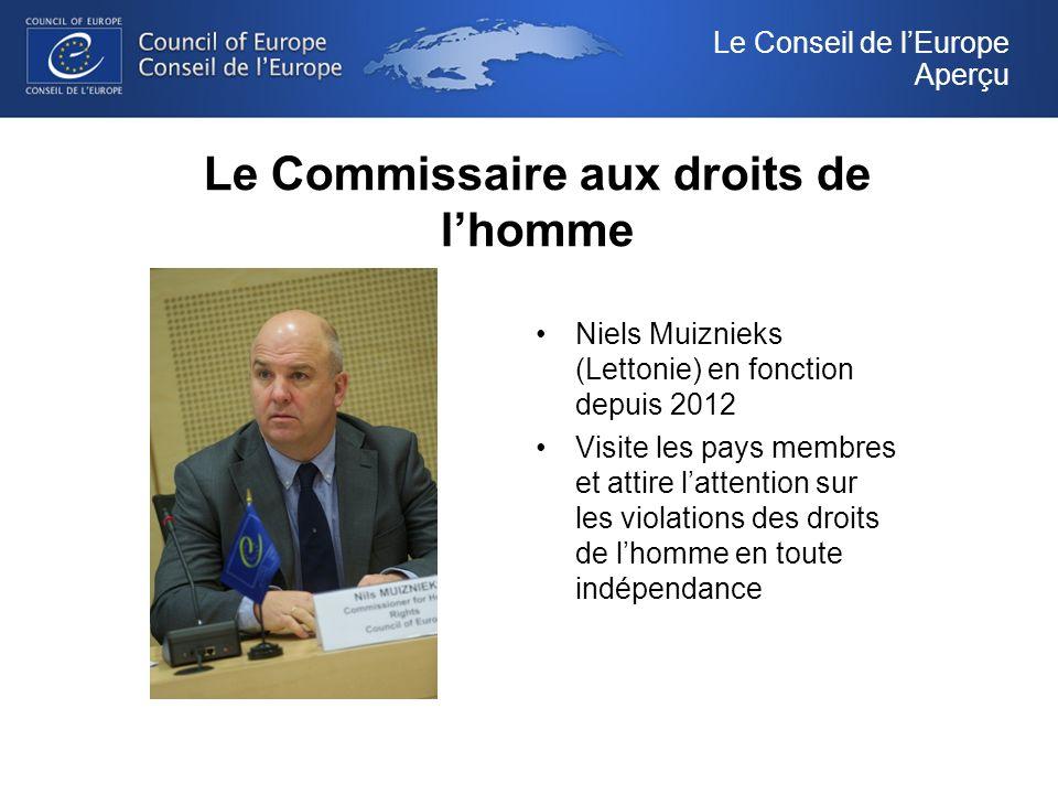 Le Commissaire aux droits de lhomme Niels Muiznieks (Lettonie) en fonction depuis 2012 Visite les pays membres et attire lattention sur les violations des droits de lhomme en toute indépendance Le Conseil de lEurope Aperçu