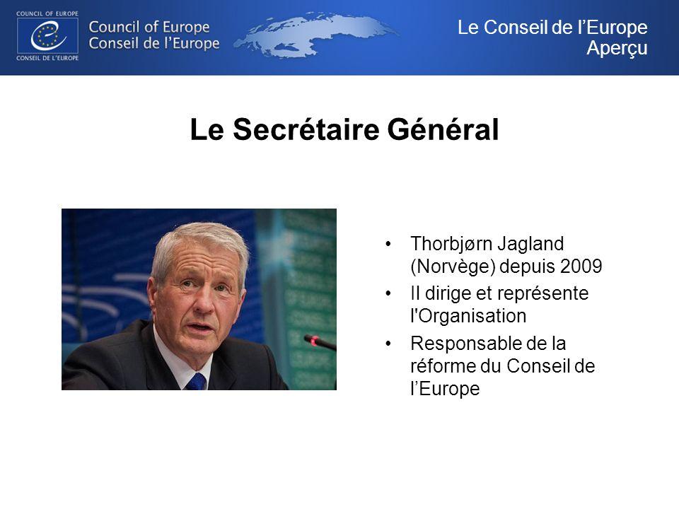 Le Secrétaire Général Thorbjørn Jagland (Norvège) depuis 2009 Il dirige et représente l Organisation Responsable de la réforme du Conseil de lEurope Le Conseil de lEurope Aperçu