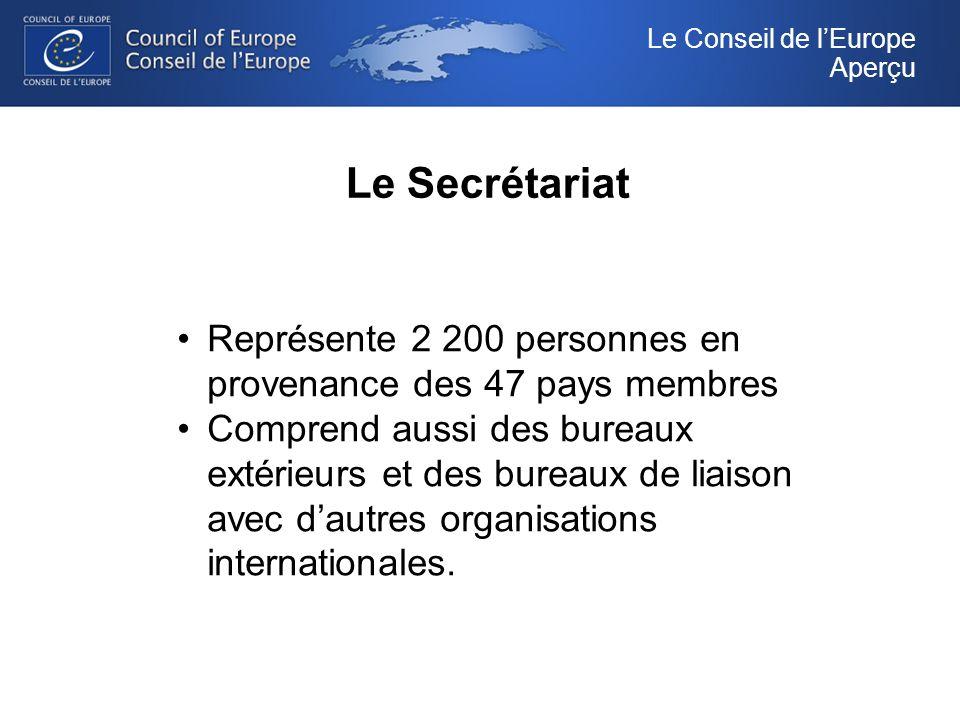 Le Secrétariat Le Conseil de lEurope Aperçu Représente 2 200 personnes en provenance des 47 pays membres Comprend aussi des bureaux extérieurs et des bureaux de liaison avec dautres organisations internationales.