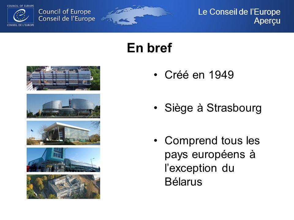 En bref Créé en 1949 Siège à Strasbourg Comprend tous les pays européens à lexception du Bélarus Le Conseil de lEurope Aperçu