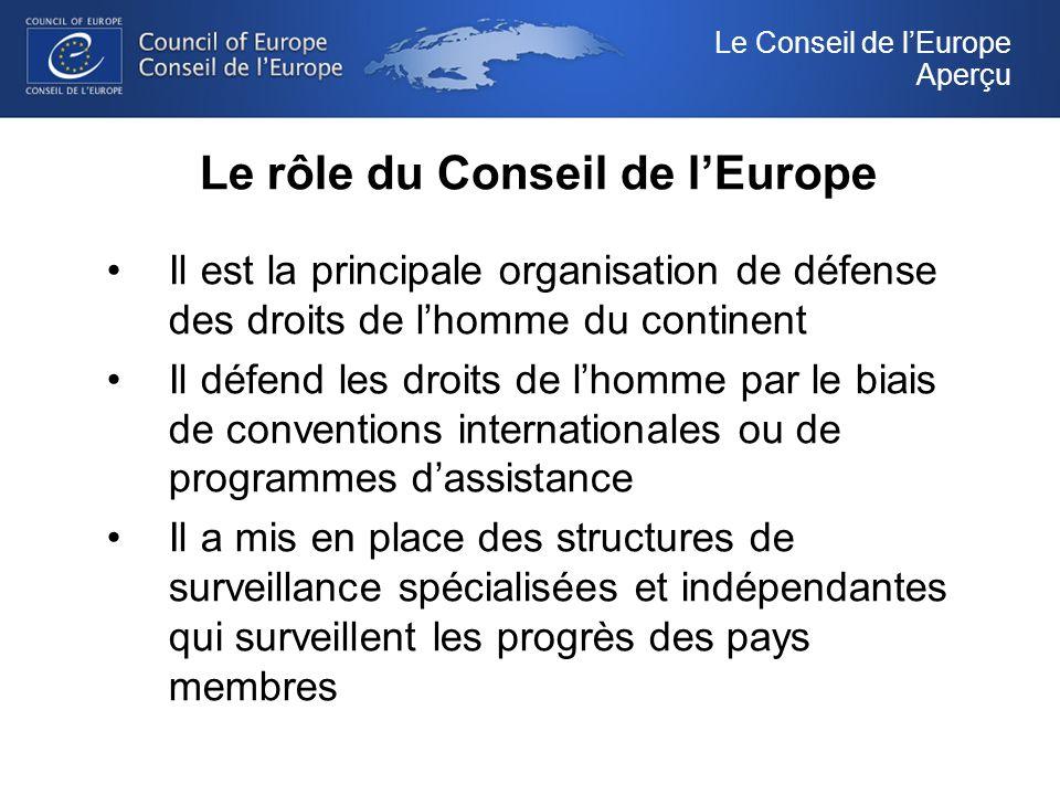Le rôle du Conseil de lEurope Il est la principale organisation de défense des droits de lhomme du continent Il défend les droits de lhomme par le biais de conventions internationales ou de programmes dassistance Il a mis en place des structures de surveillance spécialisées et indépendantes qui surveillent les progrès des pays membres Le Conseil de lEurope Aperçu