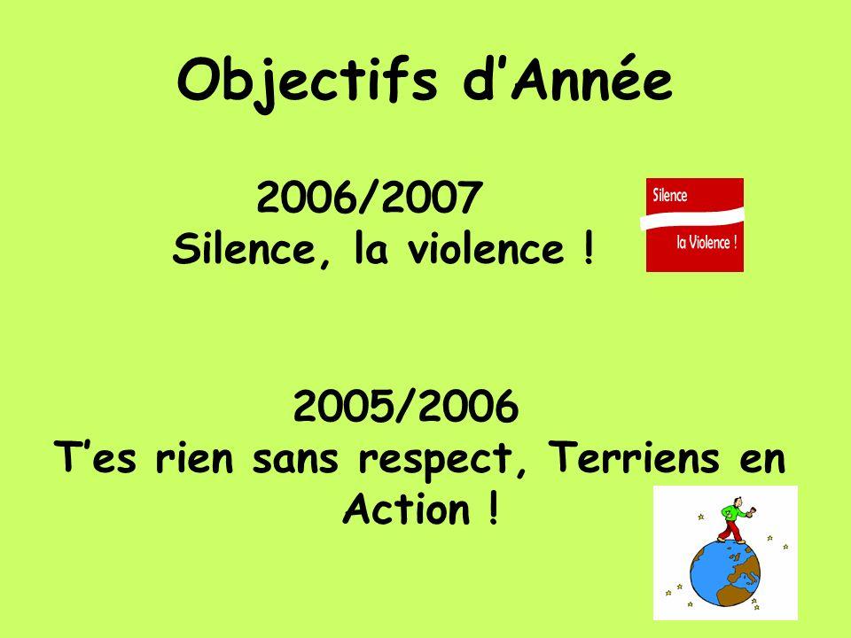 Objectifs dAnnée 2006/2007 Silence, la violence ! 2005/2006 Tes rien sans respect, Terriens en Action !