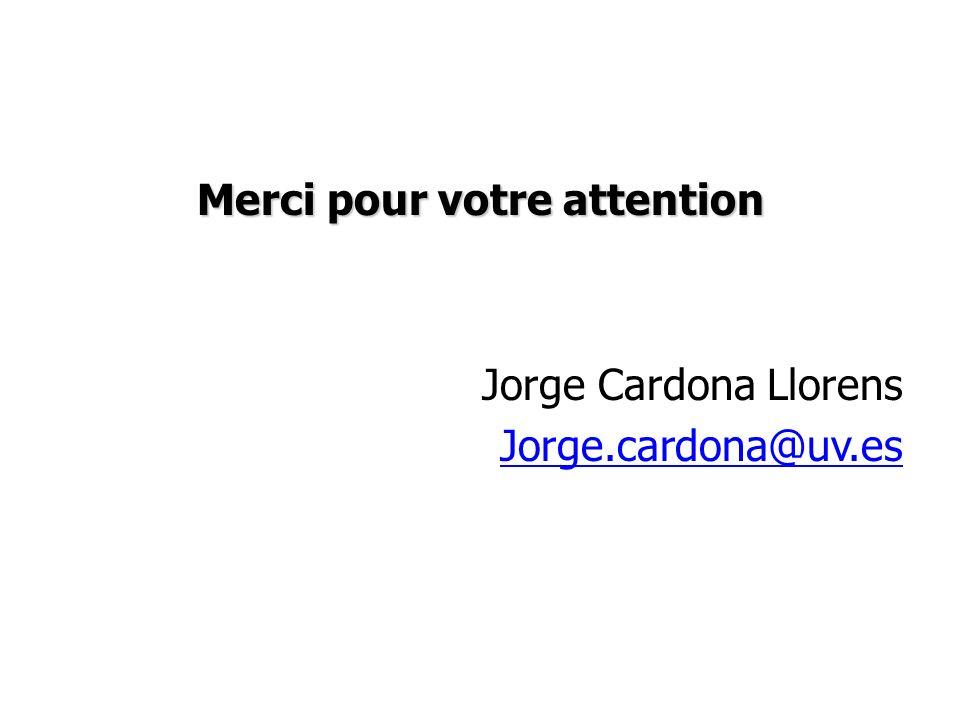 Merci pour votre attention Jorge Cardona Llorens Jorge.cardona@uv.es