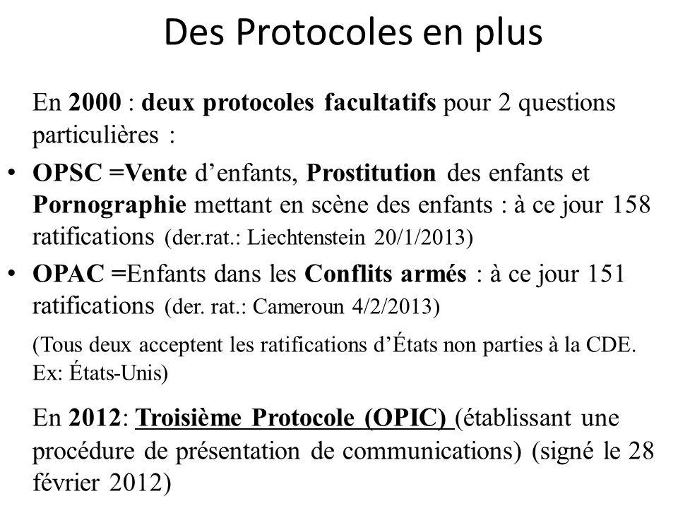 Précédants de lOPIC La CDE a été le seul traité international de droits de lhomme sans procédure de communications.