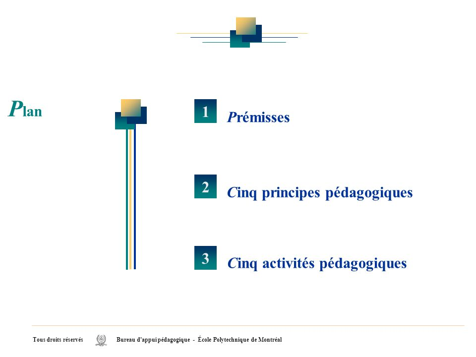 Tous droits réservés Bureau d'appui pédagogique - École Polytechnique de Montréal Prémisses 1 2 Cinq principes pédagogiques 3 Cinq activités pédagogiq