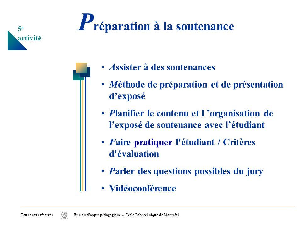 P réparation à la soutenance Assister à des soutenances Méthode de préparation et de présentation dexposé Planifier le contenu et l organisation de le