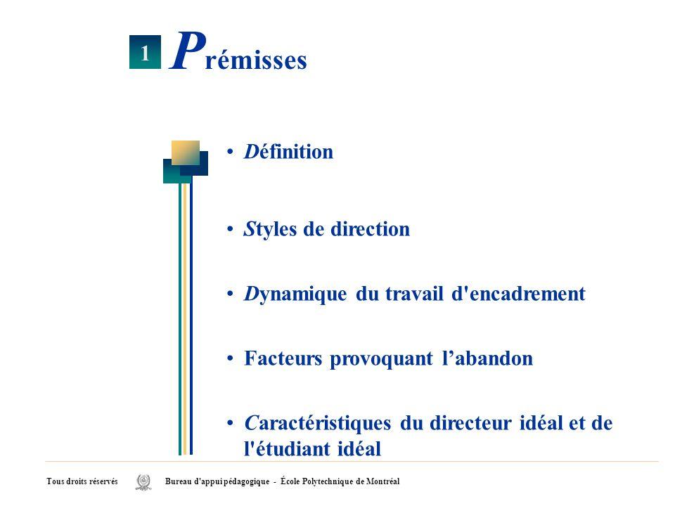 Définition Styles de direction Dynamique du travail d'encadrement Facteurs provoquant labandon Caractéristiques du directeur idéal et de l'étudiant id