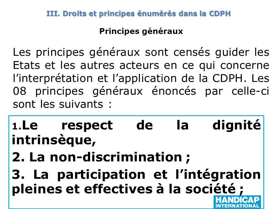 Principes généraux Les principes généraux sont censés guider les Etats et les autres acteurs en ce qui concerne linterprétation et lapplication de la CDPH.