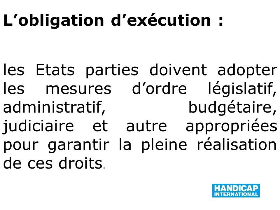 Lobligation dexécution : les Etats parties doivent adopter les mesures dordre législatif, administratif, budgétaire, judiciaire et autre appropriées pour garantir la pleine réalisation de ces droits.
