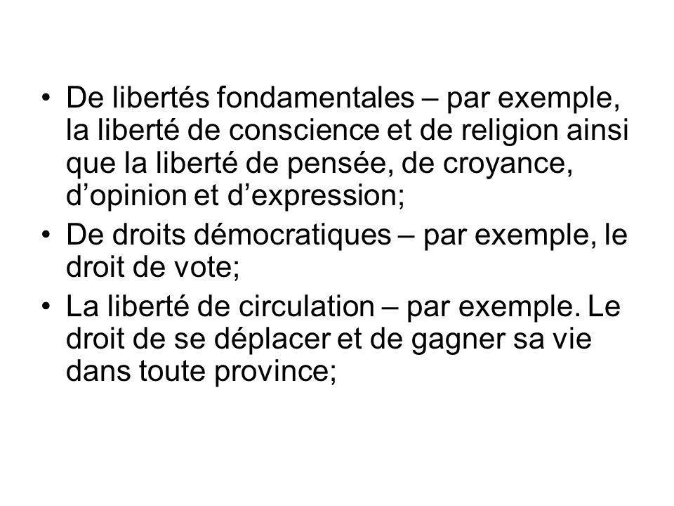De libertés fondamentales – par exemple, la liberté de conscience et de religion ainsi que la liberté de pensée, de croyance, dopinion et dexpression; De droits démocratiques – par exemple, le droit de vote; La liberté de circulation – par exemple.