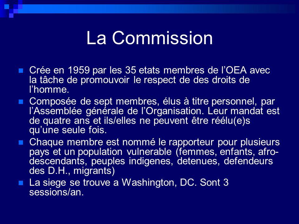 Fonctions de la CIDH Reçoit et analyse les pétitions individuelles contenant des allégations de violations des DH, aussi bien par des États membres de lOEA qui ont ratifié la Convention américaine que par ceux qui ne lont pas encore ratifiée et mène des enquêtes à ce sujet.