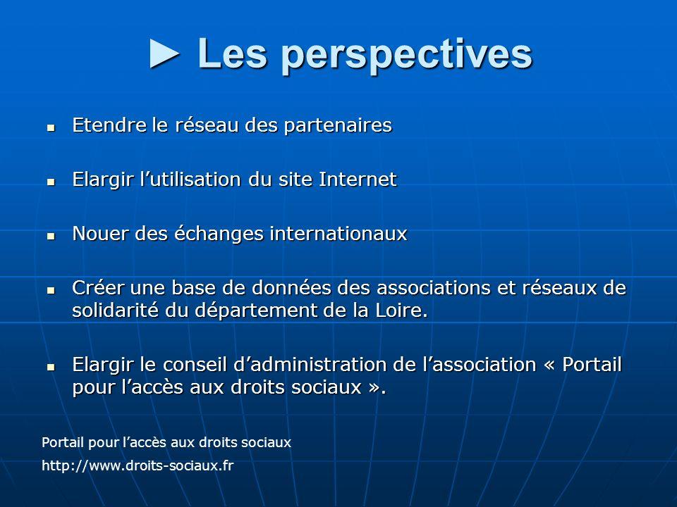 Les perspectives Les perspectives Etendre le réseau des partenaires Etendre le réseau des partenaires Elargir lutilisation du site Internet Elargir lu
