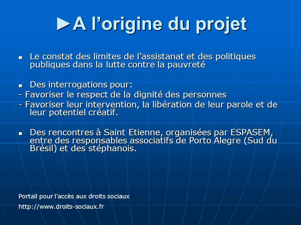 A lorigine du projetA lorigine du projet Le constat des limites de lassistanat et des politiques publiques dans la lutte contre la pauvreté Le constat