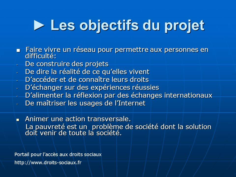 Les objectifs du projet Les objectifs du projet Faire vivre un réseau pour permettre aux personnes en difficulté: Faire vivre un réseau pour permettre