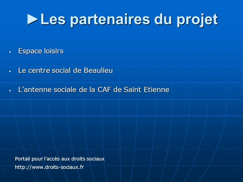 Les partenaires du projet Espace loisirs Espace loisirs Le centre social de Beaulieu Le centre social de Beaulieu Lantenne sociale de la CAF de Saint