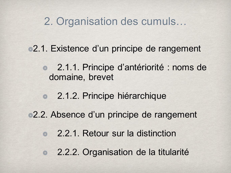 2. Organisation des cumuls… 2.1. Existence dun principe de rangement 2.1.1. Principe dantériorité : noms de domaine, brevet 2.1.2. Principe hiérarchiq