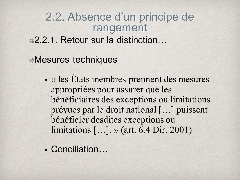 2.2. Absence dun principe de rangement 2.2.1. Retour sur la distinction… Mesures techniques « les États membres prennent des mesures appropriées pour