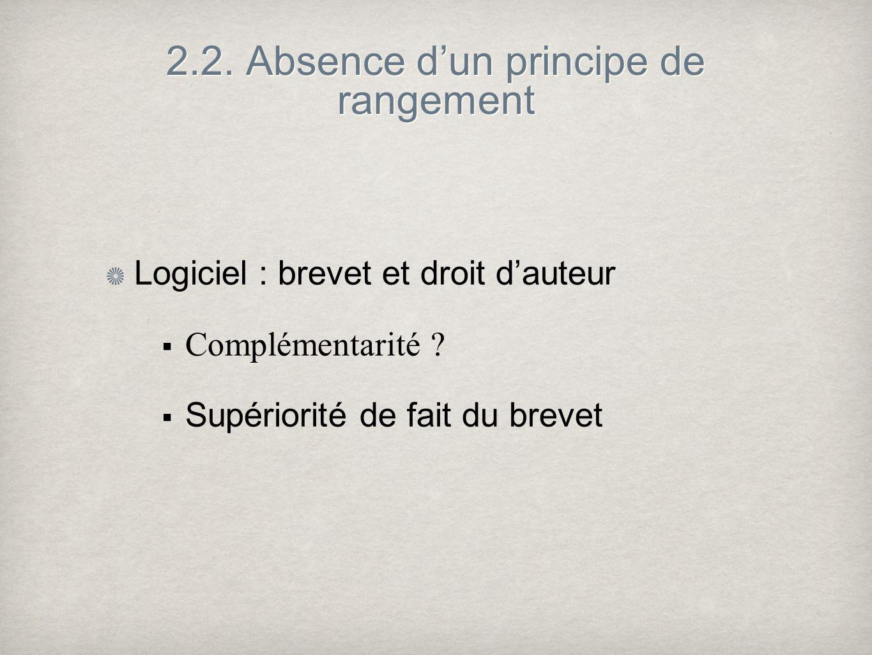 2.2. Absence dun principe de rangement Logiciel : brevet et droit dauteur Complémentarité ? Supériorité de fait du brevet