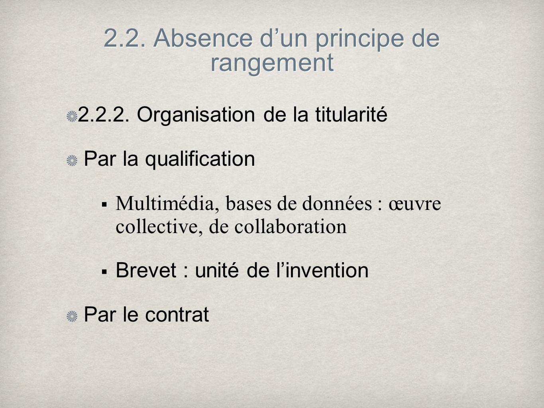 2.2. Absence dun principe de rangement 2.2.2. Organisation de la titularité Par la qualification Multimédia, bases de données : œuvre collective, de c