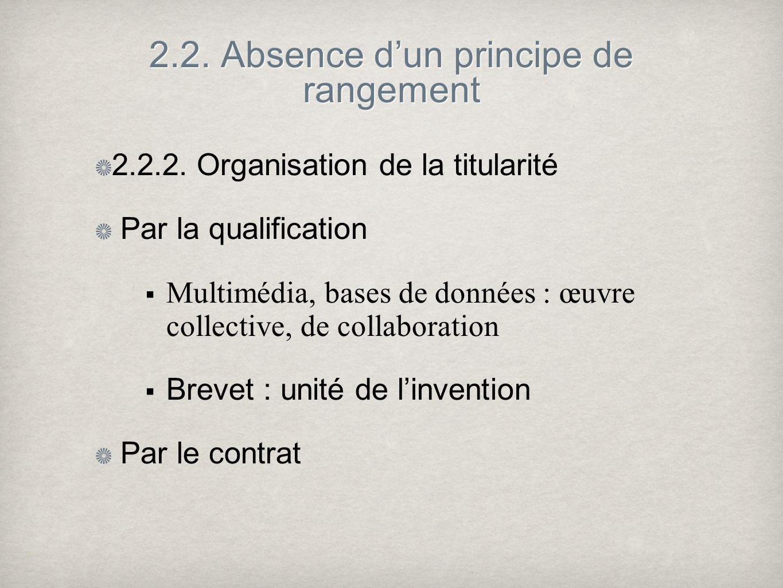 2.2. Absence dun principe de rangement 2.2.2.