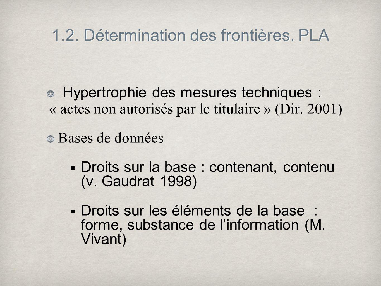 1.2. Détermination des frontières. PLA Hypertrophie des mesures techniques : « actes non autorisés par le titulaire » (Dir. 2001) Bases de données Dro