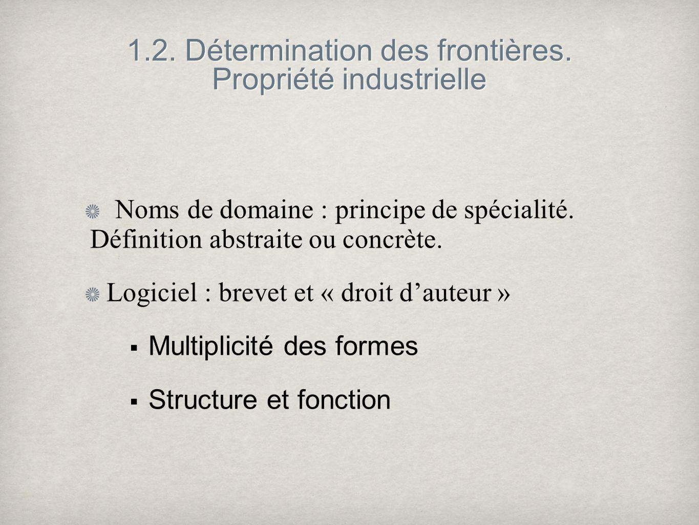 1.2. Détermination des frontières. Propriété industrielle Noms de domaine : principe de spécialité. Définition abstraite ou concrète. Logiciel : breve