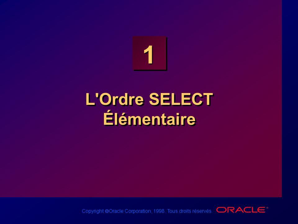 Copyright Oracle Corporation, 1998. Tous droits réservés. 1 L'Ordre SELECT Élémentaire