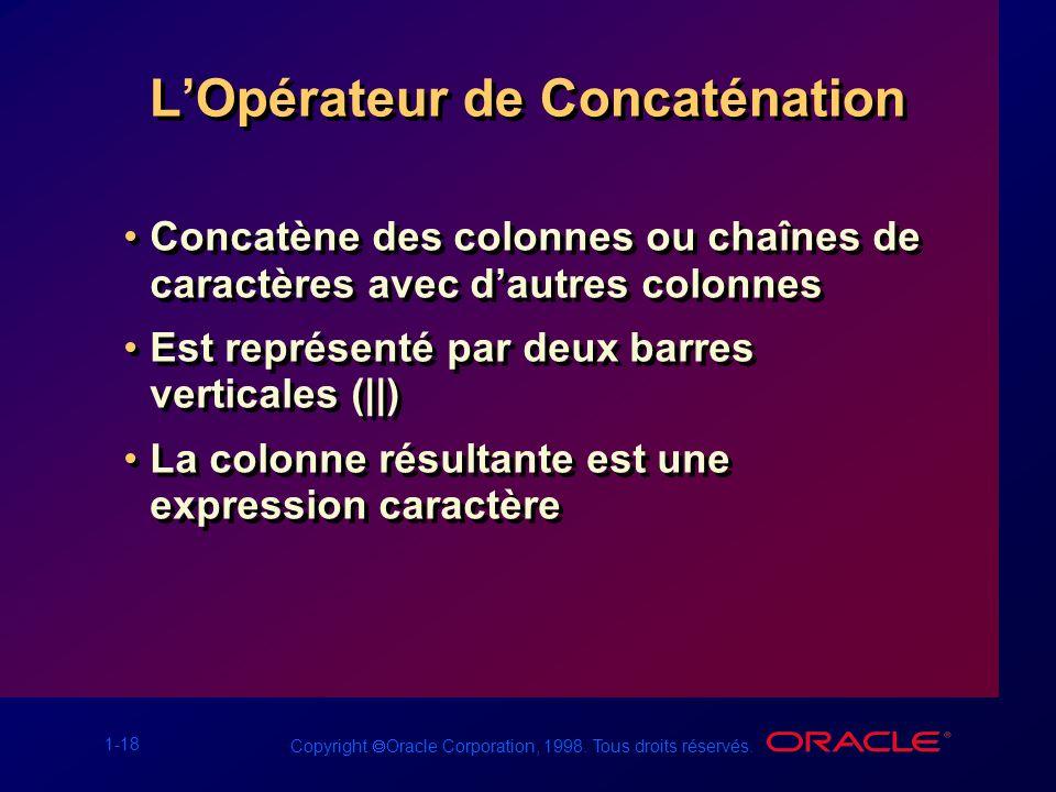 1-18 Copyright Oracle Corporation, 1998. Tous droits réservés. LOpérateur de Concaténation Concatène des colonnes ou chaînes de caractères avec dautre