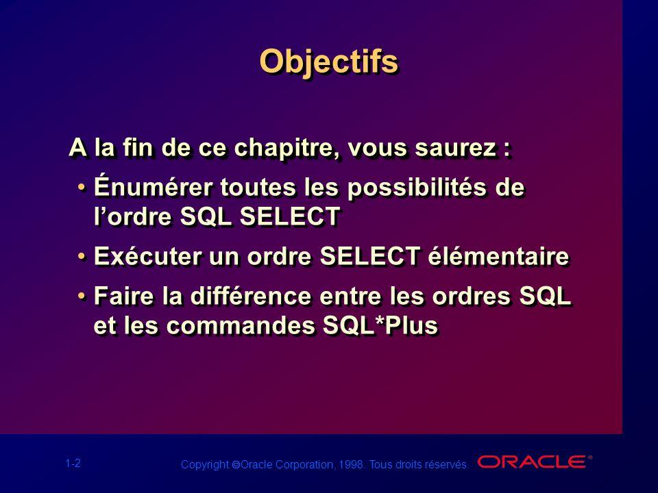 1-2 Copyright Oracle Corporation, 1998. Tous droits réservés. Objectifs A la fin de ce chapitre, vous saurez : Énumérer toutes les possibilités de lor