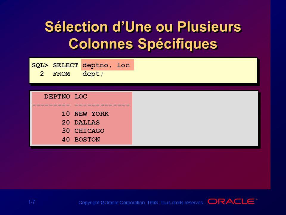 1-7 Copyright Oracle Corporation, 1998. Tous droits réservés. Sélection dUne ou Plusieurs Colonnes Spécifiques DEPTNO LOC --------- ------------- 10 N