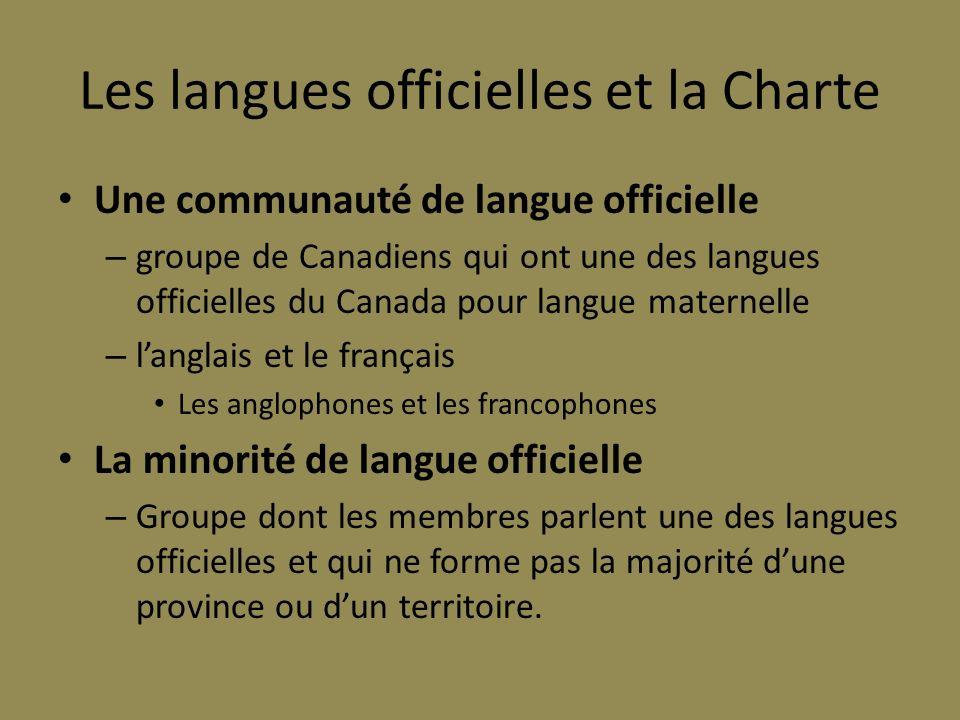 Les langues officielles et la Charte Une communauté de langue officielle – groupe de Canadiens qui ont une des langues officielles du Canada pour lang