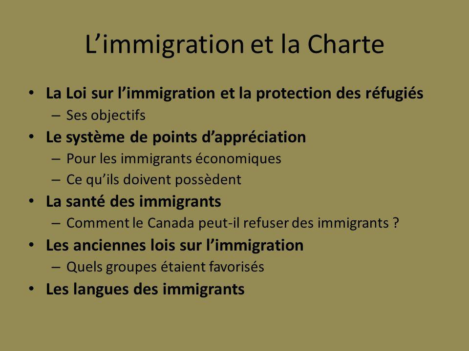 Limmigration et la Charte La Loi sur limmigration et la protection des réfugiés – Ses objectifs Le système de points dappréciation – Pour les immigran