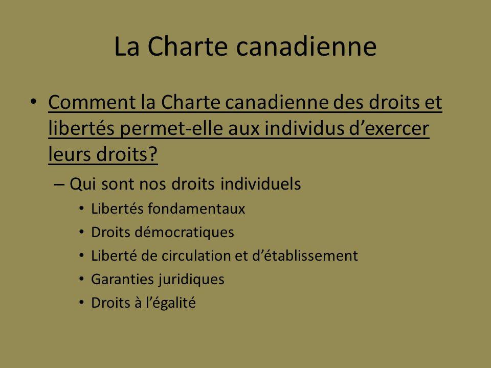 La Charte canadienne Comment la Charte canadienne des droits et libertés permet-elle aux individus dexercer leurs droits? – Qui sont nos droits indivi