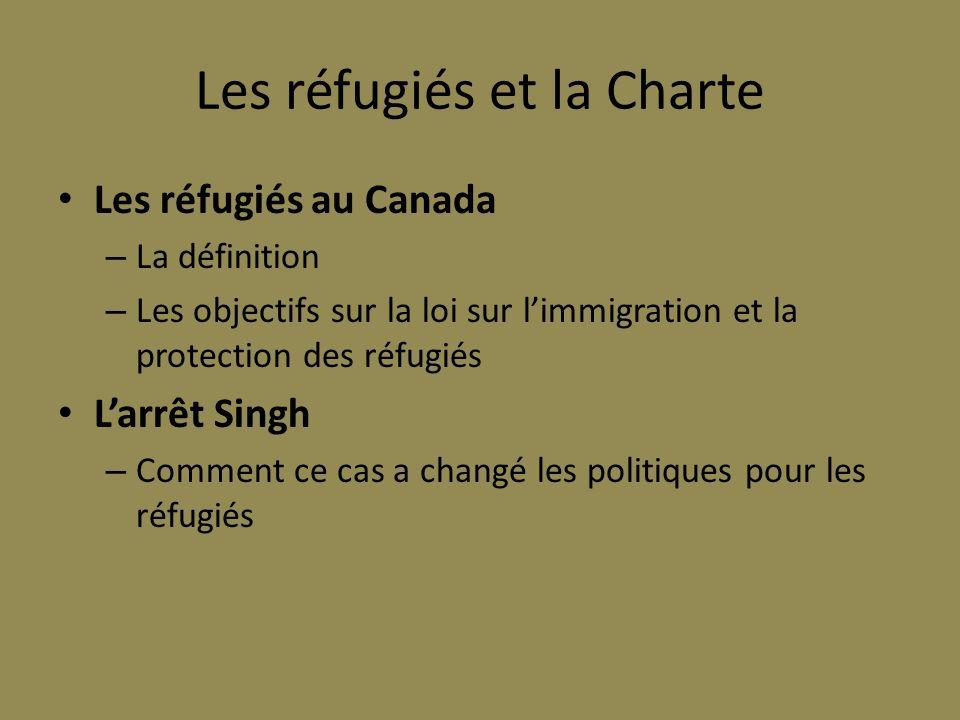 Les réfugiés et la Charte Les réfugiés au Canada – La définition – Les objectifs sur la loi sur limmigration et la protection des réfugiés Larrêt Sing