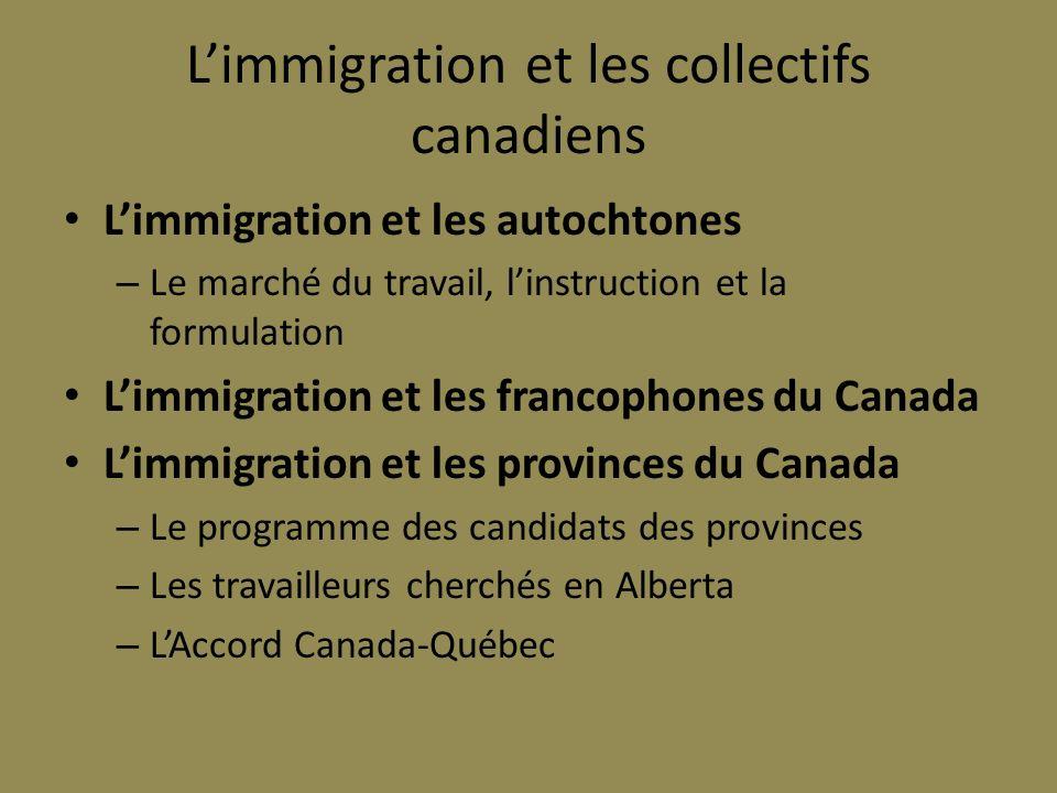 Limmigration et les collectifs canadiens Limmigration et les autochtones – Le marché du travail, linstruction et la formulation Limmigration et les fr