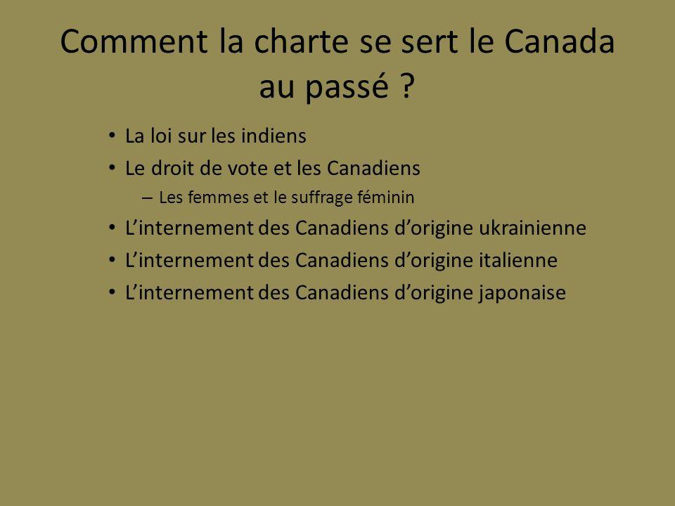 Comment la charte se sert le Canada au passé ? La loi sur les indiens Le droit de vote et les Canadiens – Les femmes et le suffrage féminin Linterneme