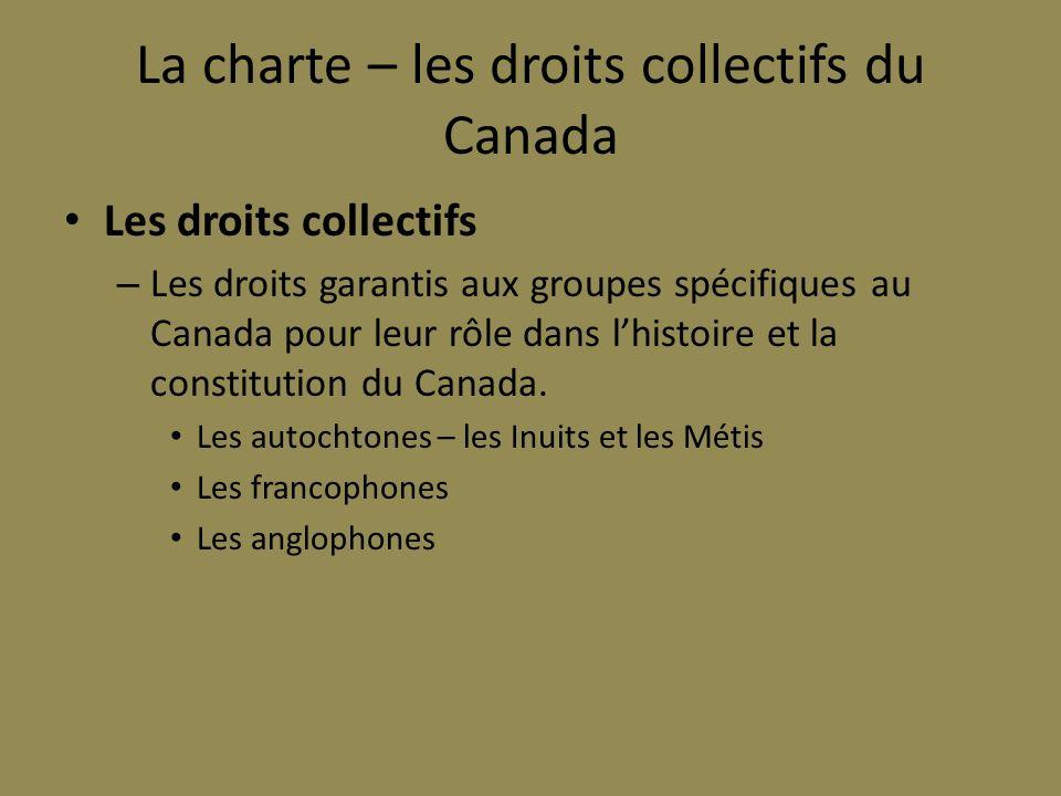 La charte – les droits collectifs du Canada Les droits collectifs – Les droits garantis aux groupes spécifiques au Canada pour leur rôle dans lhistoir