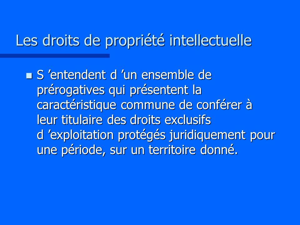 Les droits de propriété intellectuelle n S entendent d un ensemble de prérogatives qui présentent la caractéristique commune de conférer à leur titula