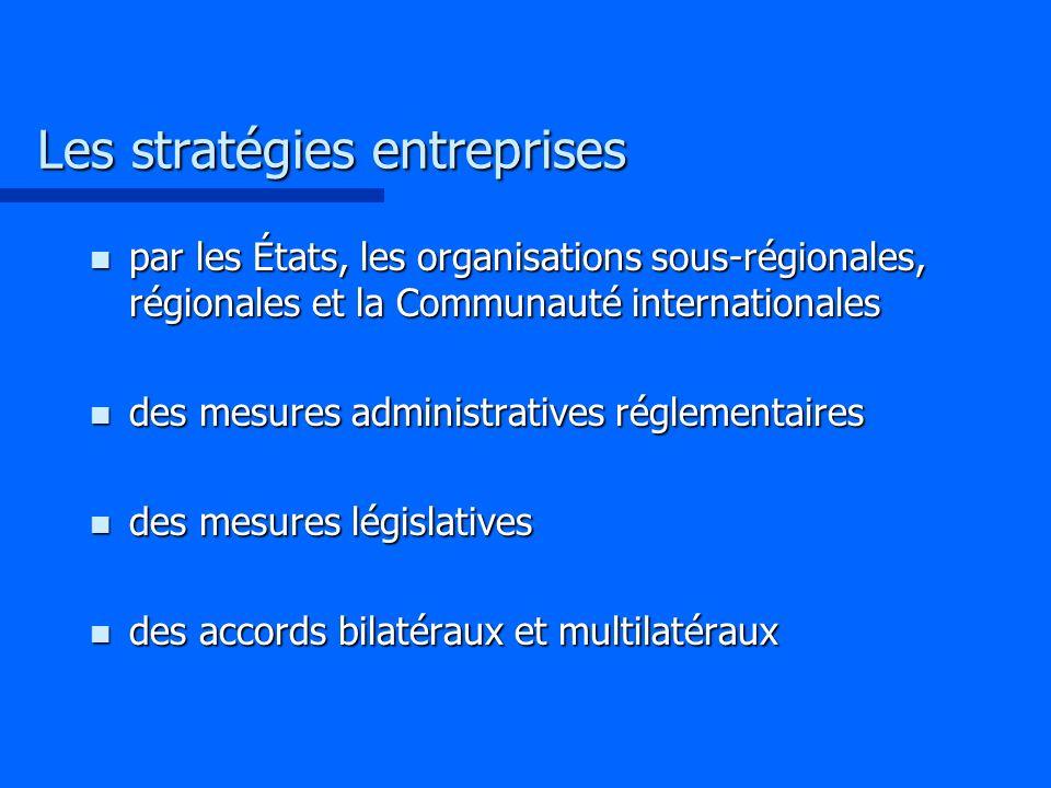 Les stratégies entreprises n par les États, les organisations sous-régionales, régionales et la Communauté internationales n des mesures administrativ