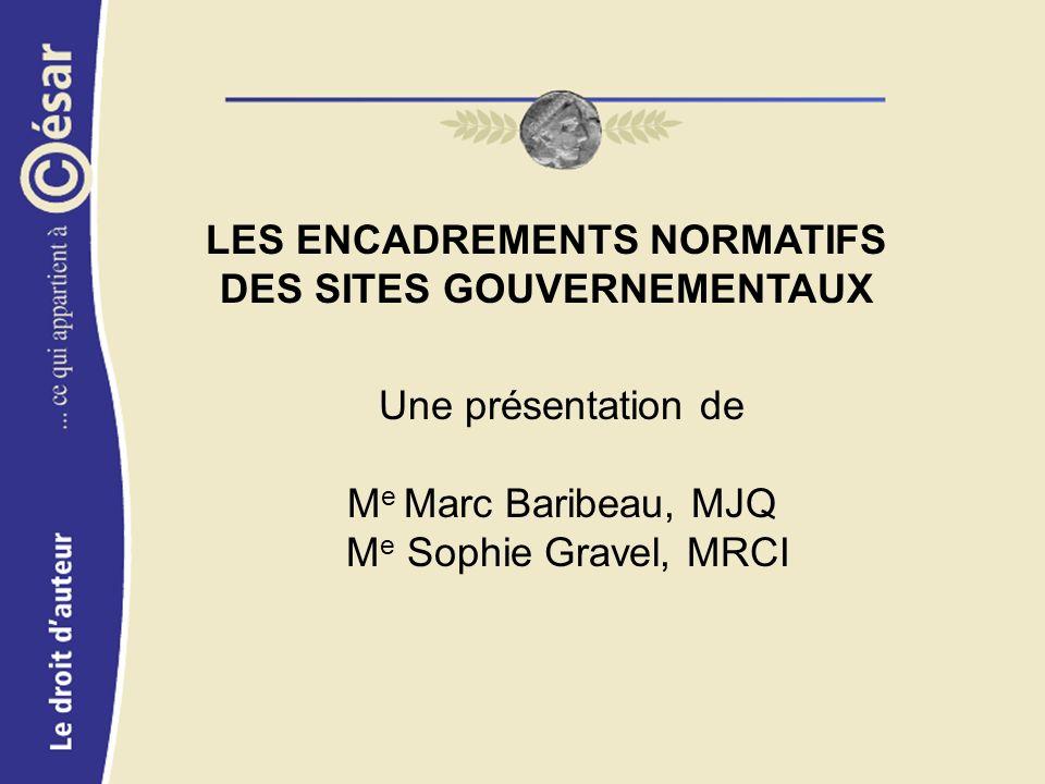 LES ENCADREMENTS NORMATIFS DES SITES GOUVERNEMENTAUX Une présentation de M e Marc Baribeau, MJQ M e Sophie Gravel, MRCI