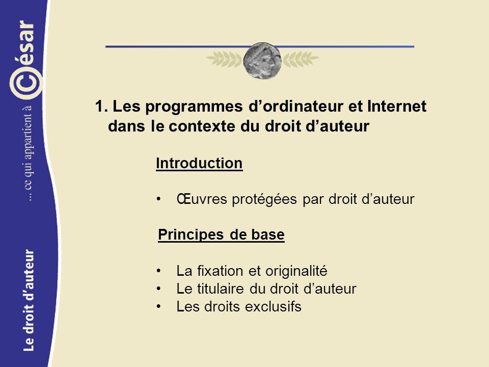 1. Les programmes dordinateur et Internet dans le contexte du droit dauteur Introduction Œuvres protégées par droit dauteur Principes de base La fixat