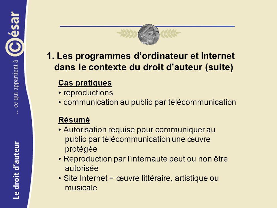 1. Les programmes dordinateur et Internet dans le contexte du droit dauteur (suite) Cas pratiques reproductions communication au public par télécommun