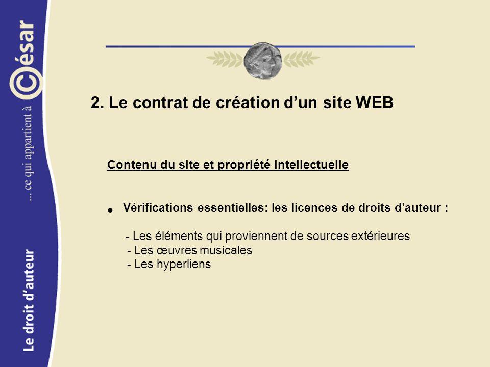 Contenu du site et propriété intellectuelle Vérifications essentielles: les licences de droits dauteur : - Les éléments qui proviennent de sources extérieures - Les œuvres musicales - Les hyperliens 2.